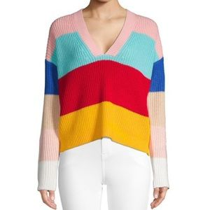 Fate Colorblock Rainbow Stripe Knit V-Neck Sweater